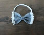 Heather Grey Pom Pom Bow (headband or clip)