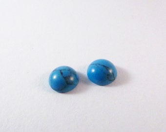 D-00149 - 2 Cabochon Turquoise 8mm