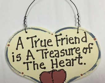 Wooden  Large Heart  A True Friend is a Treasure of the Heart