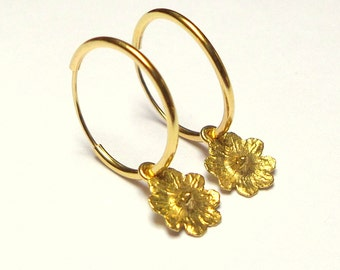 Gold Earrings - 18K Gold Earrings - Flower Hoop Earrings - Seeds Collection - Free Shipping!!!