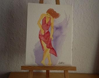Dancer in Red Dress, Original Watercolor, Small Watercolor
