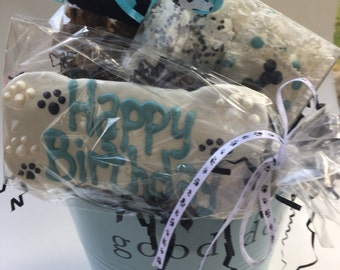 Dog Treats//Happy Birthday/Get Well/Welcome Gift Basket for Dogs