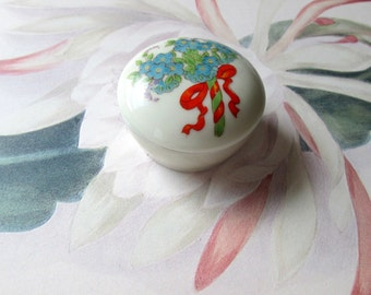 Vintage Round Ceramic Trinket Box by Enesco Japan Blue Flower Bouquet with Red Box