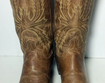 LUCCHESE 1883 Brown Leather Cowboy Western Boots Men's Size 8.5 EE