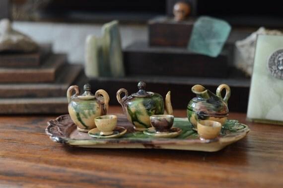 French Antique Tiny Miniature Child S Tea Set Provencal