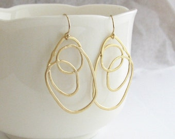Gold Abstract Circle Dangle Earrings, Large Gold Dangle Earrings, Multi Circle Gold Earrings, Long Gold Earrings - 14k Gold Filled Ear Wires