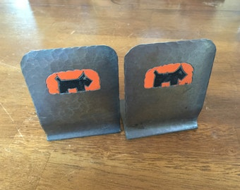 Hammered Copper Bookends with Scottish Terriers by Craftsman Studios - Model 278