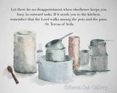 Pots and Pans with St. Teresa of Avila Quote Watercolor 8x10 Print