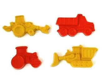 Construction party favor crayons - set of 4, dump truck party favors, tractor party favors, truck birthday party, truck party favors