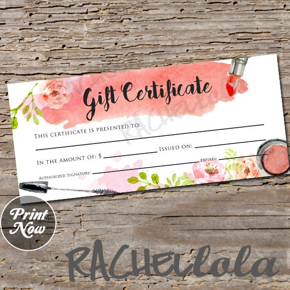 Watercolor makeup printable gift certificate template spring watercolor makeup printable gift certificate template spring direct sales mary kay gift voucher avon gift card instant digital download yelopaper Choice Image