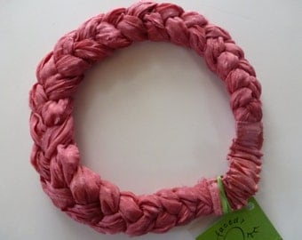A soft pink on pink sari silk chiffon windowpane check braided into my Sari Silk Headband - luscious and light!