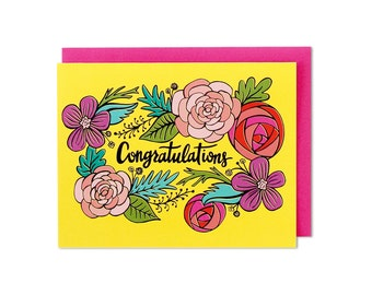 Congratulations Card, Greeting Card, Cards, Baby Shower Card, Wedding Card, Graduation Card, Floral Card