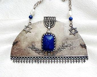 Jewish Wedding Necklace. Torah Symbols. Vintage Jewish Jewelry In Handmade. Antique Judaica Jewelry. Sterling Silver & Lapis. FREE SHIPPING!