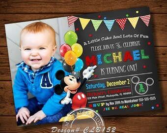 MICKEY MOUSE INVITATION, Mickey Mouse, Clubhouse Invitation, Clubhouse Birthday Party Invitation