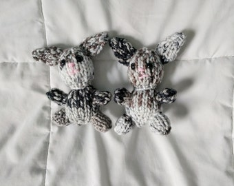 Mini Knitted Calico Bunny Plush in Bulky Yarn