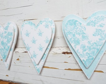 3 Baby Blue Toile Hearts Chic Rose Wooden Home Decor Wall Hangings Plaques