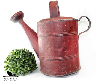 Vintage, Chippy Red, Two Handled, Galvanized Metal Watering Can, Garden Sprinkler, Rustic Garden Décor, Shabby Farmhouse Decor