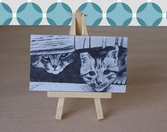 CAT ART PRINT on wooden mini easel