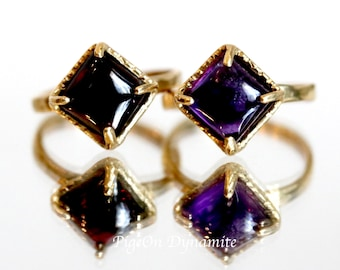 Square Garnet/Amethyst Solitaire Ring-Stackable Garnet/Amethyst Ring with Hammered Texture/Stacking Stone Ring-Ready to Ship in size 6.5