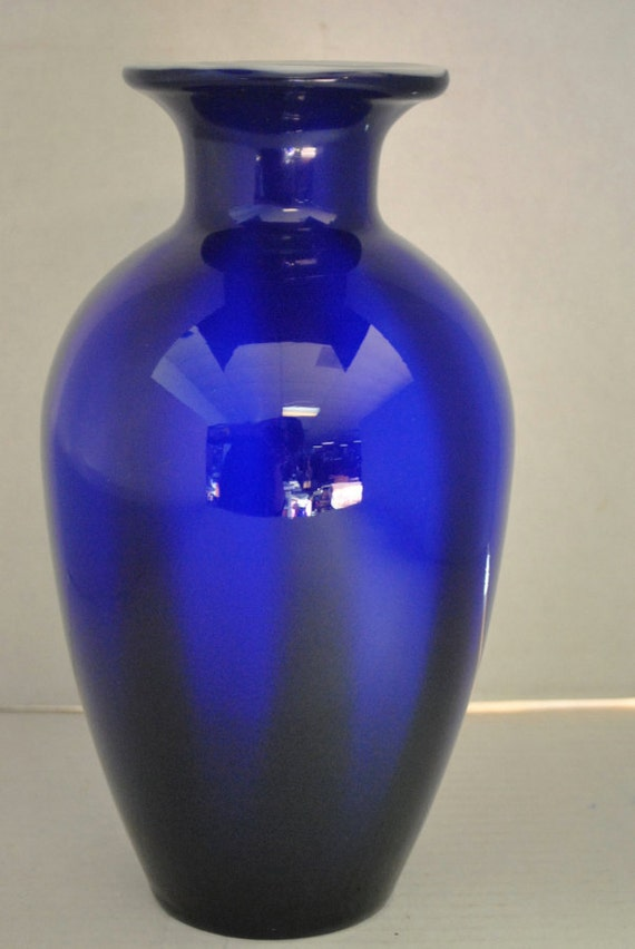 Antique Hand Blown Cased Glass Vase Cobalt Blue 10h 2