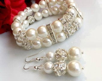 set of 5 bridesmaid gift,bridesmaid bracelet and earrings set of 5,bridesmaid bracelet,bridal pearl set