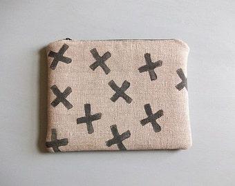 Handmade Make Up Bag, Linen Cosmetic Purse, Pencil Case, Handmade UK Seller, One of a Kind Bag