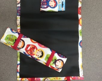 Reversible chalk board and play mat with chalk