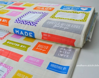 Quilt Labels Fabric - Made for You by Ann Kelle for Robert Kaufman - 100% cotton. AAK-15817-205 Multi - Select Your Length