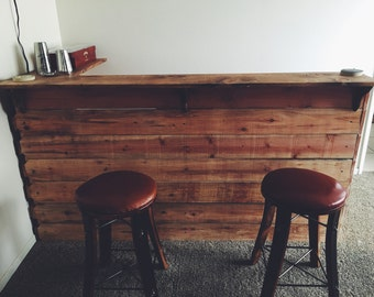hand crafted wooden bar top