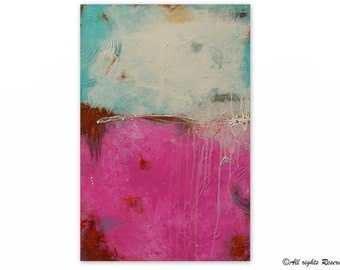 Original Acrylic Art - Large Modern Artwork - Abstract Acrylic Art - Pink White Turquoise | by Maria Sa