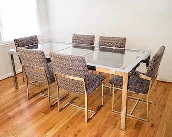 mid century dining table and chairs, modern dining set, stunning Design Institute America (DIA) glass and chrome dining set, vintage
