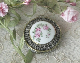 Vintage F&J Co. Enamel  and Silver Compact - Sterling Silver Filigree  - Loose Powder Well with Compartment for Puff