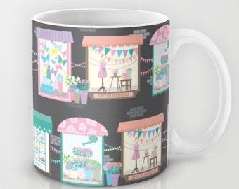 Let's Go Window Shopping, Ceramic Coffee Mug, Storefront, Windows, Shopping, Awnings