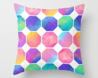 Watercolor Octagons - Decorative Pillows - Throw Pillows - Couch Pillows - Sofa Pillows