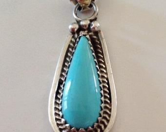 Native American Navajo Sterling Silver Turquoise Teardrop Pendant