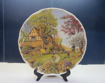 Pretty Royal Albert Dream Cottages Spring By Peter Riverford Display Plate