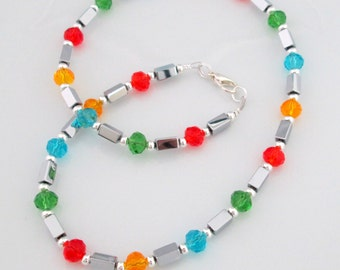 Silver Hematite Necklace, Crystal Necklace, Colourful Crystals, Silver Hematite Beads, Crystal Jewellery, Colourful Crystal Creation
