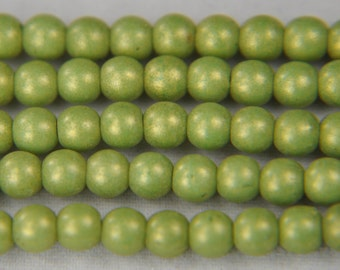 Czech pressed glass round druk beads 4mm pacifica avocado 100 beads