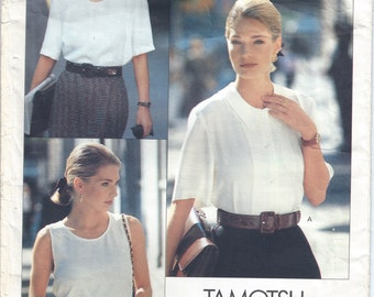 1990 Misses/Petite Top and Blouse Pattern, Tamotsu Career, Vogue 2454, Size 6-8-10
