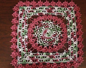Circle in a Square Doily, multicolor doily