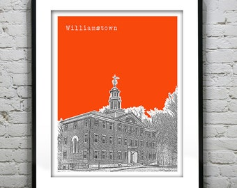 Williamstown Skyline Poster Art Print Massachusetts MA Version 1