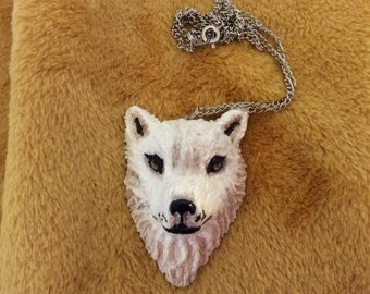 White wolf Necklace polymer clay