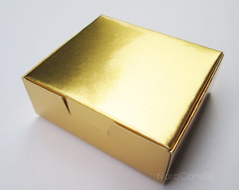 Gold Favor Box, Metallic Gold Box, Gold Foil Box, Jewelry Packaging, Gift Box - Set of 20