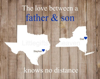 Custom Father's Day Print- grandpa Fathers Day, gift for dad, canvas long distance, father son map, travel moving away, travel present map