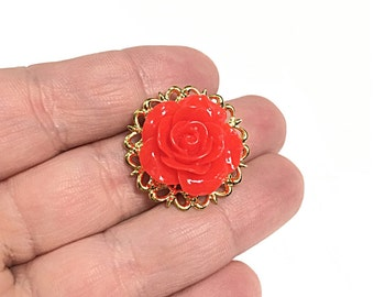 Red rose gold filigree band ring, flower ring