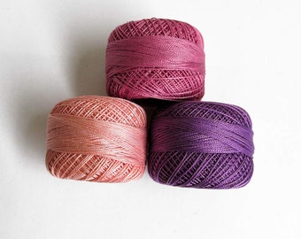 Cotton thread Perle 12, embroidery thread, pearl cotton, crochet thread, 3pc., choose 1 color or take all 3 (5)