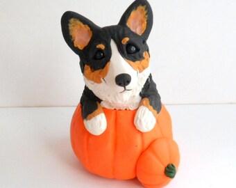 Autumn Corgi Pumpkin Sculpture by Raquel at theWRC hand sculpted polymer clay Collectible DOG