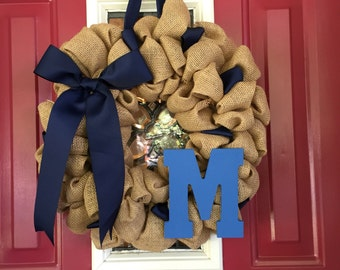 Burlap Wreath w/ initial monogram