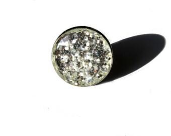 Silver glitter ring statement - glitter ring - silver ring statement - cocktail ring - fashion glitter - glitter jewellery - silver  jewelry