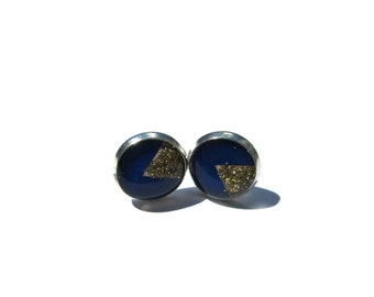 Blue and Golden Triangle Earrings, handmade studs, Triangle Earrings Studs, Geometric Jewelry, Dark blue